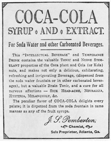 Early advert for Coca-Cola. Source: http://www.wikiwand.com/en/Coca-Cola