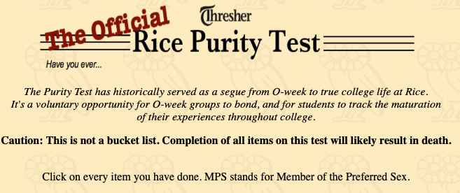 Purity test not including sex